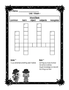 1st Grade Wonders COMPLETE SET Units 1-6 Oral Vocabulary Crossword Puzzles!