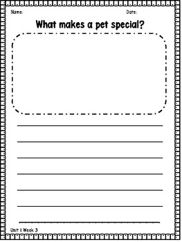 1st Grade Wonders Essential Question Writing Response Pages