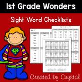 1st Grade Wonders Sight Word Checklists