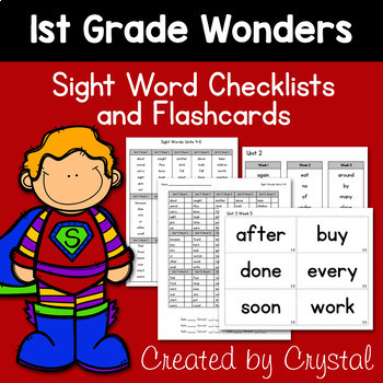 1st Grade Wonders Sight Word Flashcards and Checklists