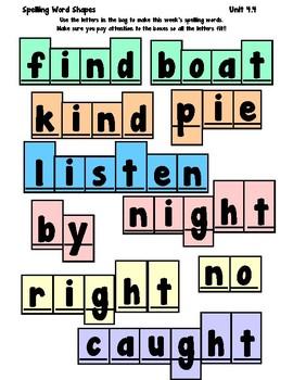 1st Grade Wonders Spelling Boxes 4-4