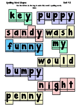1st Grade Wonders Spelling Boxes 4-5