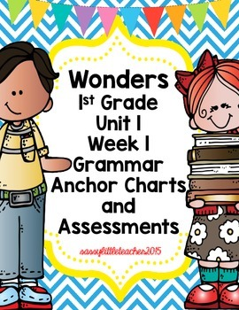 1st Grade Wonders Unit 1 Week 1 Grammar Charts and Assessments