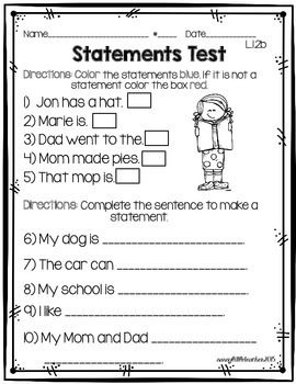 1st Grade Wonders Unit 1 Week 3 Grammar Charts and Assessments
