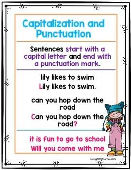 1st Grade Wonders Unit 1 Week 5 Grammar Charts and Assessments