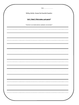 1st Grade Wonders Unit 1 Writing Activity: Answer the Essential Question