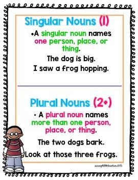 1st Grade Wonders Unit 2 Week 2 Grammar Charts and Assessments