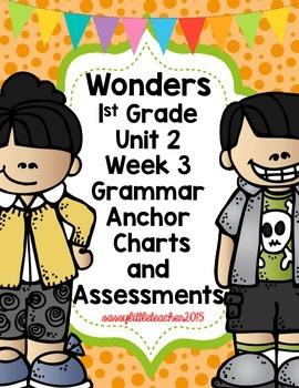1st Grade Wonders Unit 2 Week 3 Grammar Charts and Assessments