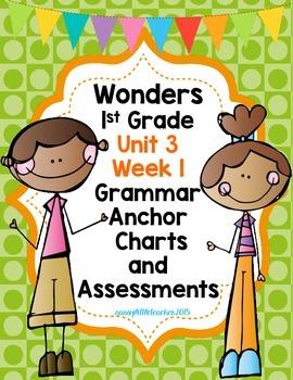 1st Grade Wonders Unit 3 Week 1 Grammar Charts and Assessments