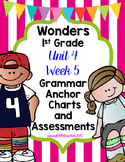 1st Grade Wonders Unit 4 Week 5 Grammar Charts and Assessments