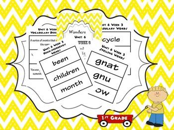 1st Grade Wonders Unit 6 Word Bundle