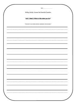 1st Grade Wonders Units 1-6 Writing Activity: Answer the Essential Question
