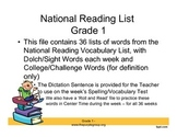 1st Grade Word List for the Year - with challenge and sigh