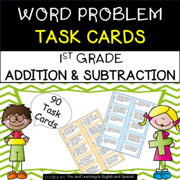 1st Grade Word Problem Task Cards (90 cards - addition & subtraction)