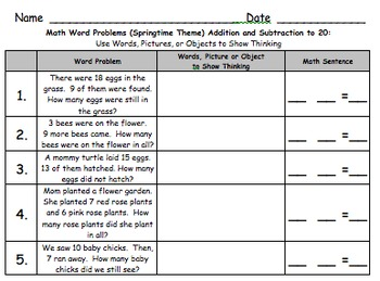 1st Grade Word Problems GALORE!