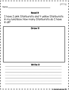 1st Grade Word Problems Numbers within 10