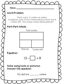 1st grade word problems part part whole by math lady in