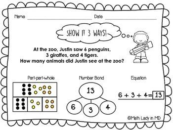 1st Grade Word Problems SET 3 - Show It 3 Ways!