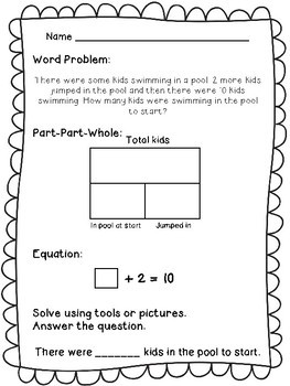 1st Grade Word Problems Set 2 - Part Part Whole