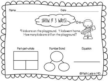 1st Grade Word Problems - Show It 3 Ways!