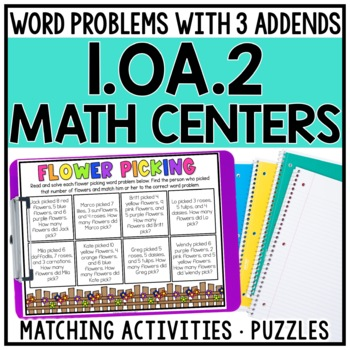 1st Grade Word Problems with 3 Addends Centers for 1.OA.2