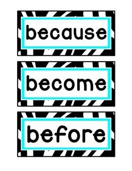 1st Grade Word Wall Cards - Aqua, Lime, and Zebra Print