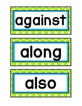 1st Grade Word Wall Cards - Lime, Aqua, & Black