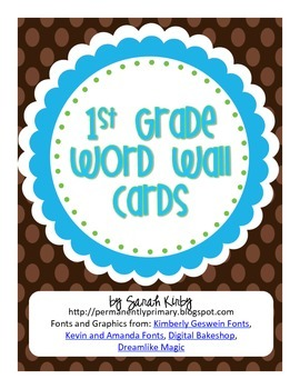 1st Grade Word Wall Cards - Lime, Aqua, & Brown