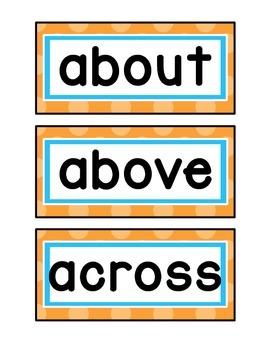1st Grade Word Wall Cards - Orange and Aqua