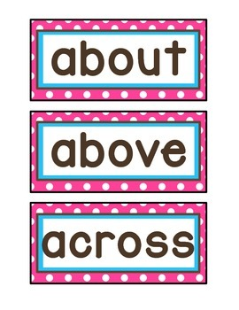 1st Grade Word Wall Cards - Pink, Aqua, and Brown