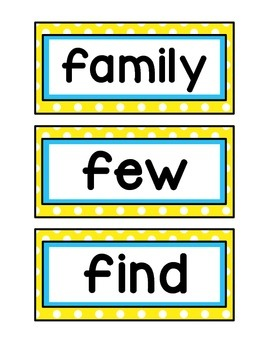 1st Grade Word Wall Cards - Yellow and Aqua