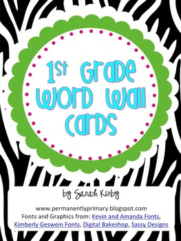 1st Grade Word Wall Cards - Zebra