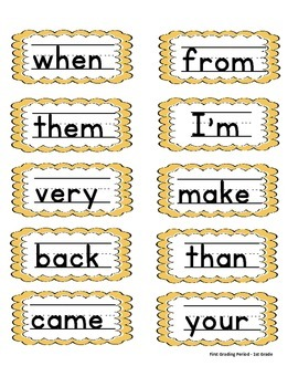1st Grade Word Wall High Frequency / Primary Lined Font / Bulletin Board