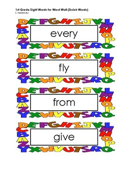 1st Grade Word Wall - Sight Words