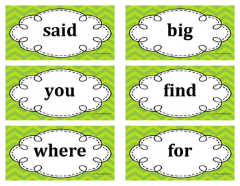 1st Grade Word Wall Word Set Lime Green