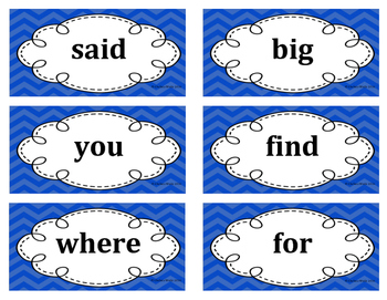 1st Grade Word Wall Word Set Blue