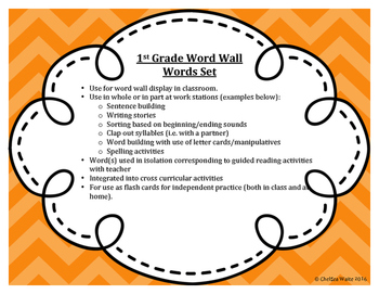 1st Grade Word Wall Word Set Orange