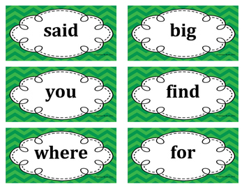 1st Grade Word Wall Word Set Green
