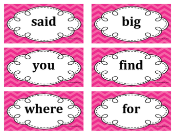 1st Grade Word Wall Word Set Pink
