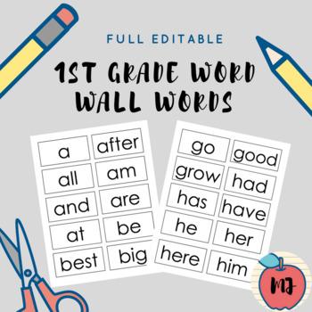 1st Grade Word Wall Words [Full Editable]
