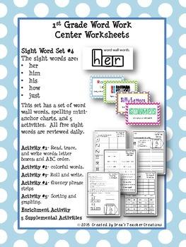 1st Grade Word Work Center Worksheets (Sight Words) Set #4