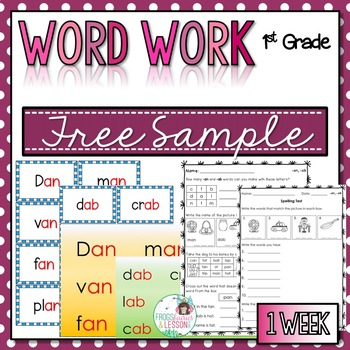1st Grade Word Work - FREE SAMPLE-Small Groups, Centers, Assessment
