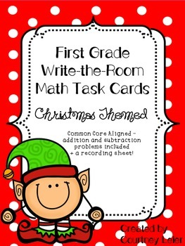 1st Grade Write-The-Room Math Task Cards - common core aligned!