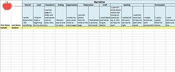 1st Grade Writers Workshop Checklist Tracker