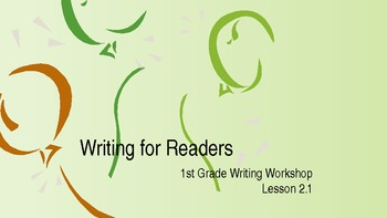 1st Grade Writers Workshop Lesson 2.1 Writing For readers