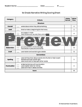 1st Grade Writing Rubric Bundle