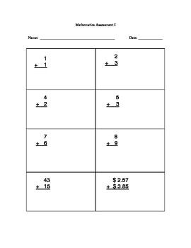 1st Grade Written Math Test