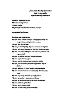 1st Grade-Year Long- Reader's Workshop Mini Lessons