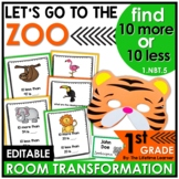 1st Grade Zoo Math Classroom Transformation | 10 More 10 Less