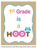 1st Grade ia a Hoot Classroom Sign